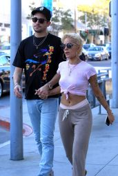 Halsey and G-Eazy Leaving Il Pastaio in Beverly Hills
