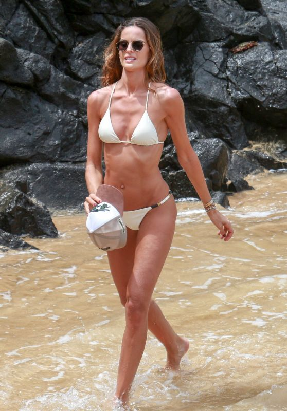 Izabel Goulart in a White Bikini - Beach in Fernando de Noronha