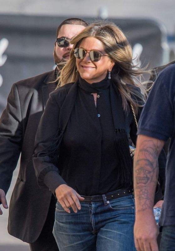 Jennifer Aniston Arrive to Appear on Jimmy Kimmel Live in Los Angeles