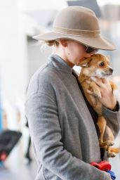 Jennifer Lawrence With Her Dog Pippa - Airport in New York