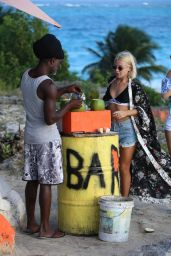 Jessica Woodley at a Beach Bar in Barbados