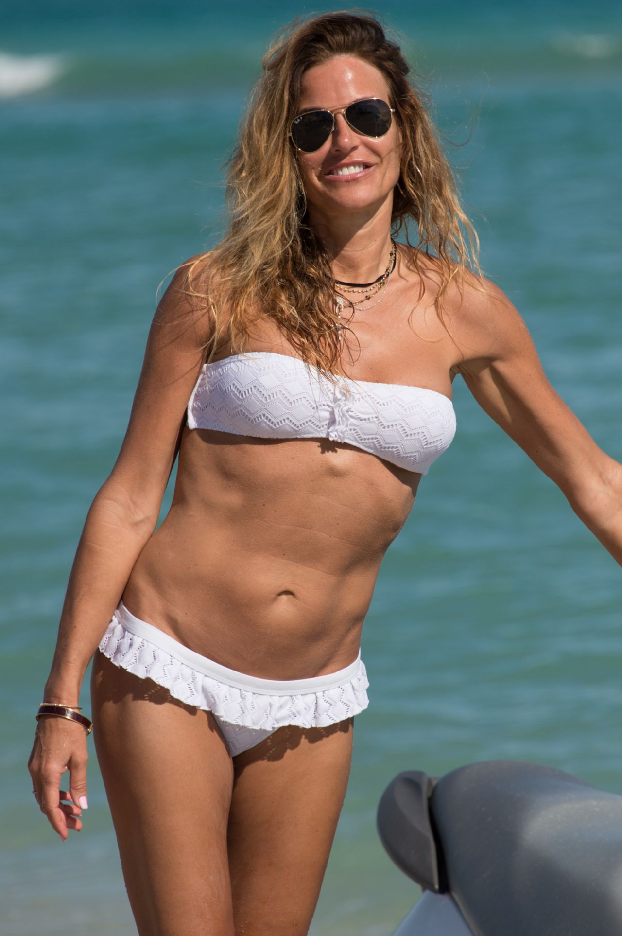Kelly Bensimon in White Bikini in Miami