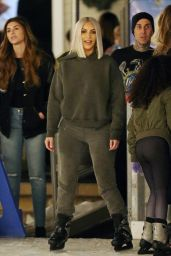 Kim Kardashian in Grey Hoodie - Ice Skating at a Christmas Party in Thousand Oaks