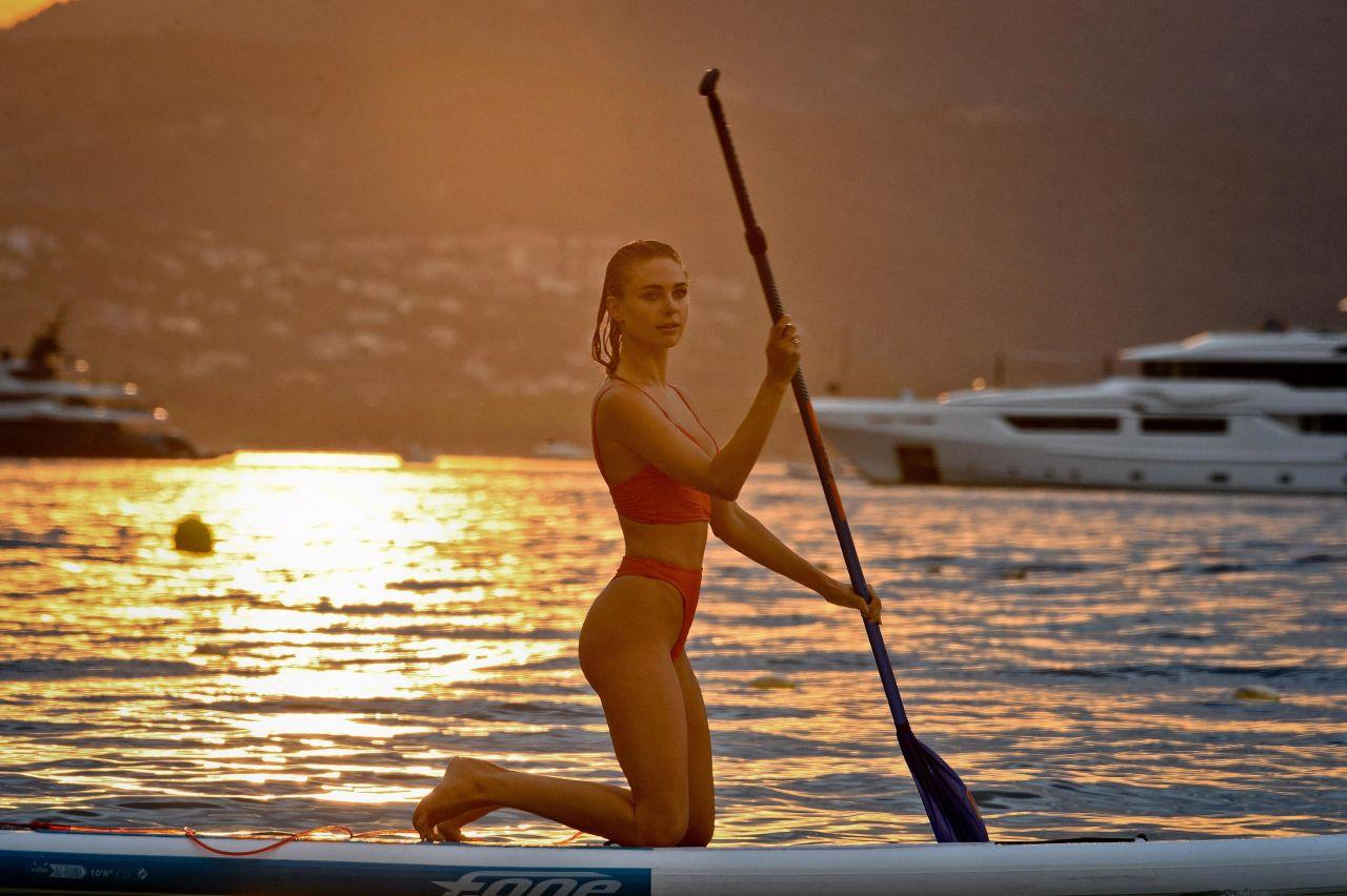 Kimberley Garner - Paddleboarding On Beach in Caribbean 12/23/2017