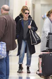 Kristen Stewart and Stella Maxwell at JFK Airport in NYC 12/08/2017