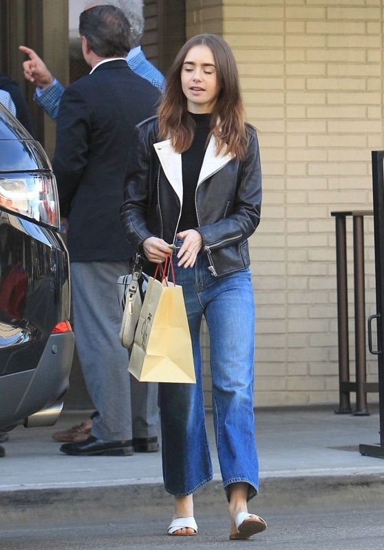 Lily Collins - Outside of The Palm Restaurant After Lunch