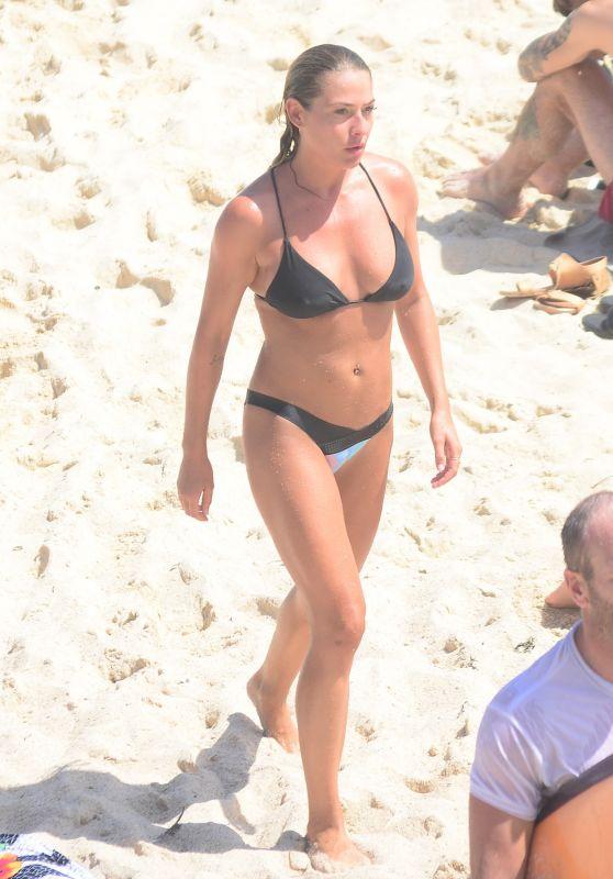 Lisa Clarke in Black Bikini at Tamarama Beach in Sydney