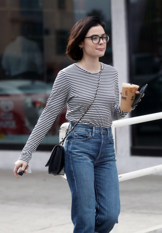 Lucy Hale Wears Stripes - Out in West Hollywood 12/20/2017