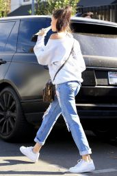 Madison Beer in a Harley-Davidson Sweater and Ripped Jeans Shopping in West Hollywood
