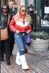 Mariah Carey Winter Street Style - Christmas Shopping in Aspen