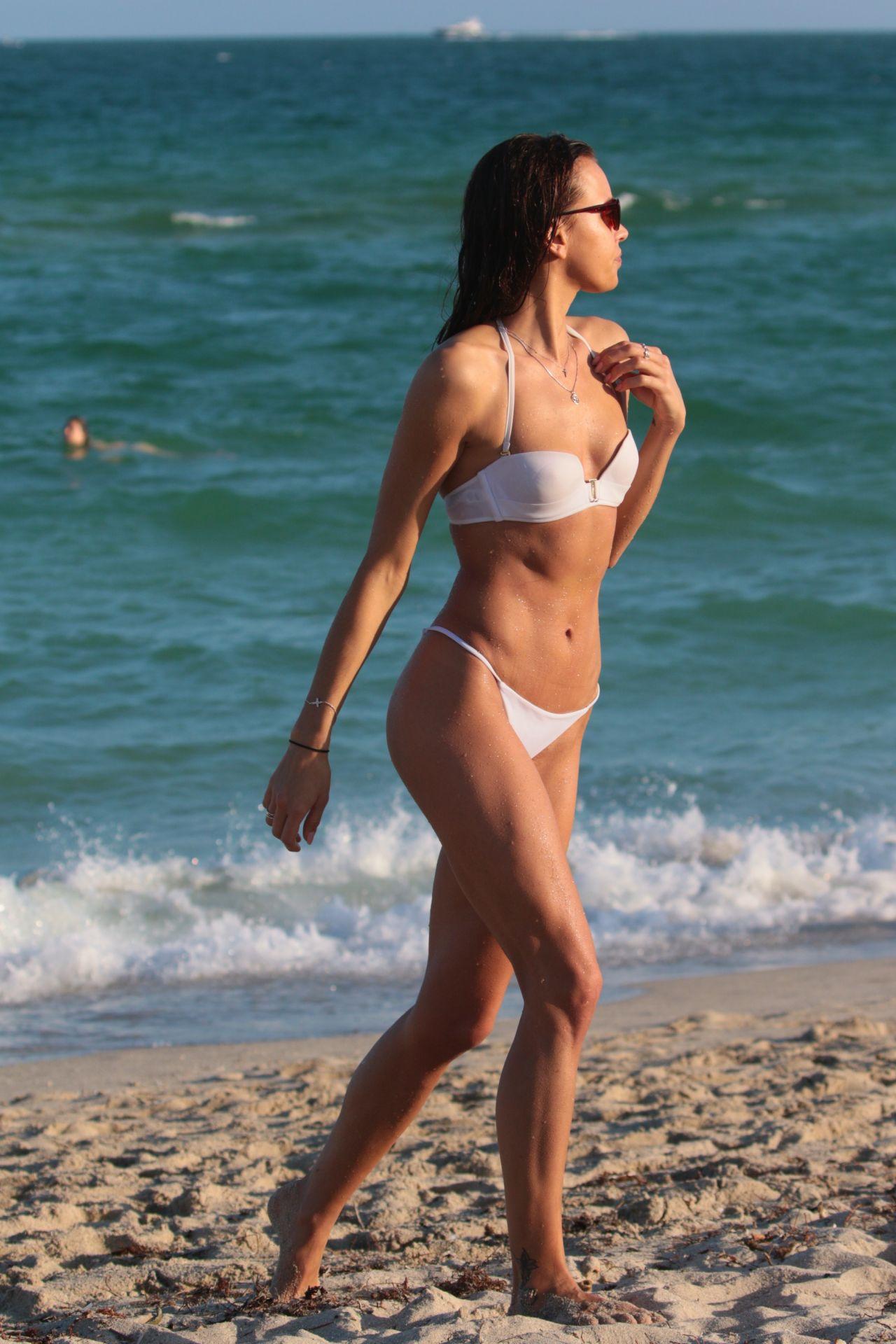 Meri Gulin in White Bikini at the beach in Miami