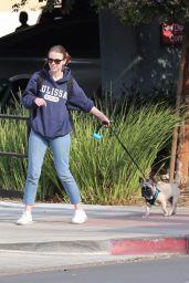 Mia Goth - Walking Her French Bulldog 12/16/2017