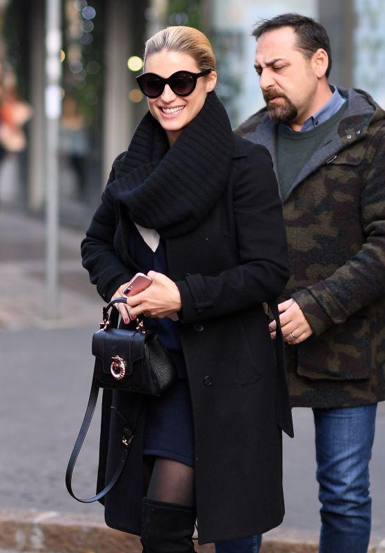 Michelle Hunziker Winter Style - Leaving Her Home in Milan 12/05/2017