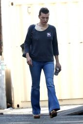 Milla Jovovich in Bell-Bottoms Out in Los Angeles