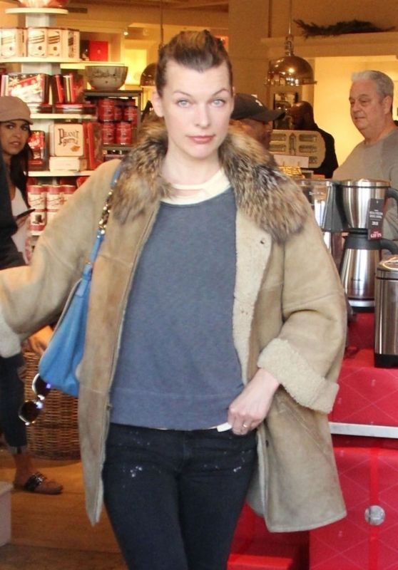 Milla Jovovich - Shopping at the Prada Store in Beverly Hills 12/21/2017