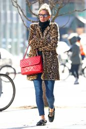 Nicky Hilton in a Leopard Print Coat and Red Chanel Handbag - NYC 12/06/2017