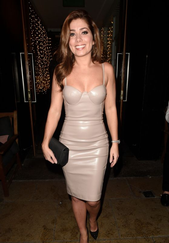 Nikki Sanderson in a Tight PVC Style Dress Out in Manchester