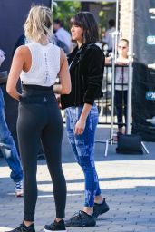 Nina Dobrev in Stylish Blue Workout Gear - Universal City 12/15/2017