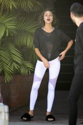 Olivia Culpo - Leaves a Hair Salon in Beverly Hills 12/12/2017