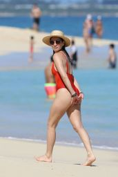 Olivia Munn in a Red Swimsuit on the Beaches of Hawaii 12/09/2017