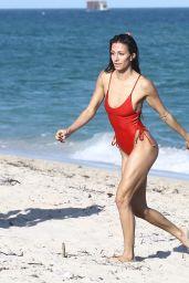 Petra Kladivova in a Red Swimsuit - Beach in Miami 12/10/2017