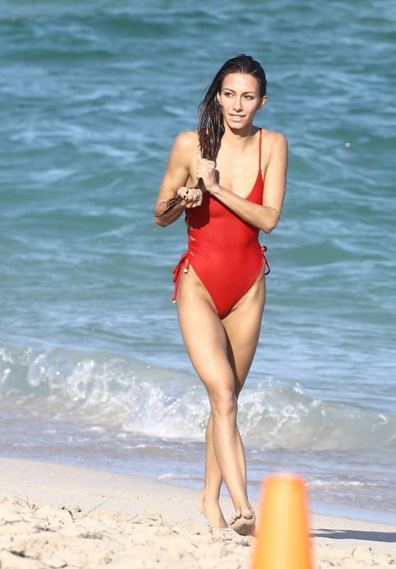 Petra Kladivova in a Red Swimsuit - Beach in Miami 12/10/2017