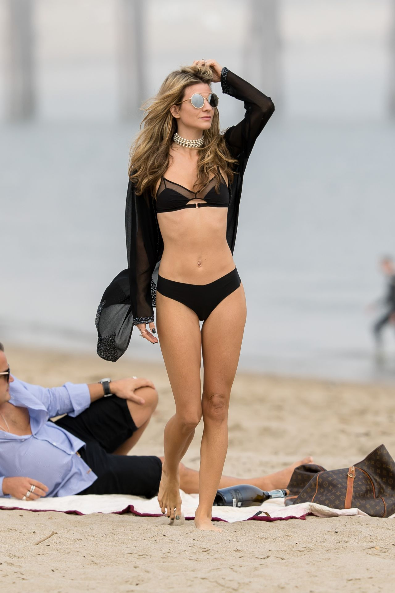 Rachel McCord in Black Bikini at a beach in Malibu Pic 2 of 35