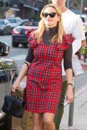 Reese Witherspoon in Red Plaid Dress - Brentwood 12/16/2017