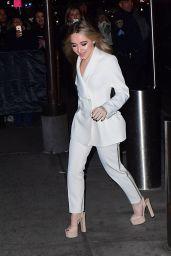 Sabrina Carpente in all White Outside Z100 Jingle Ball in NYC