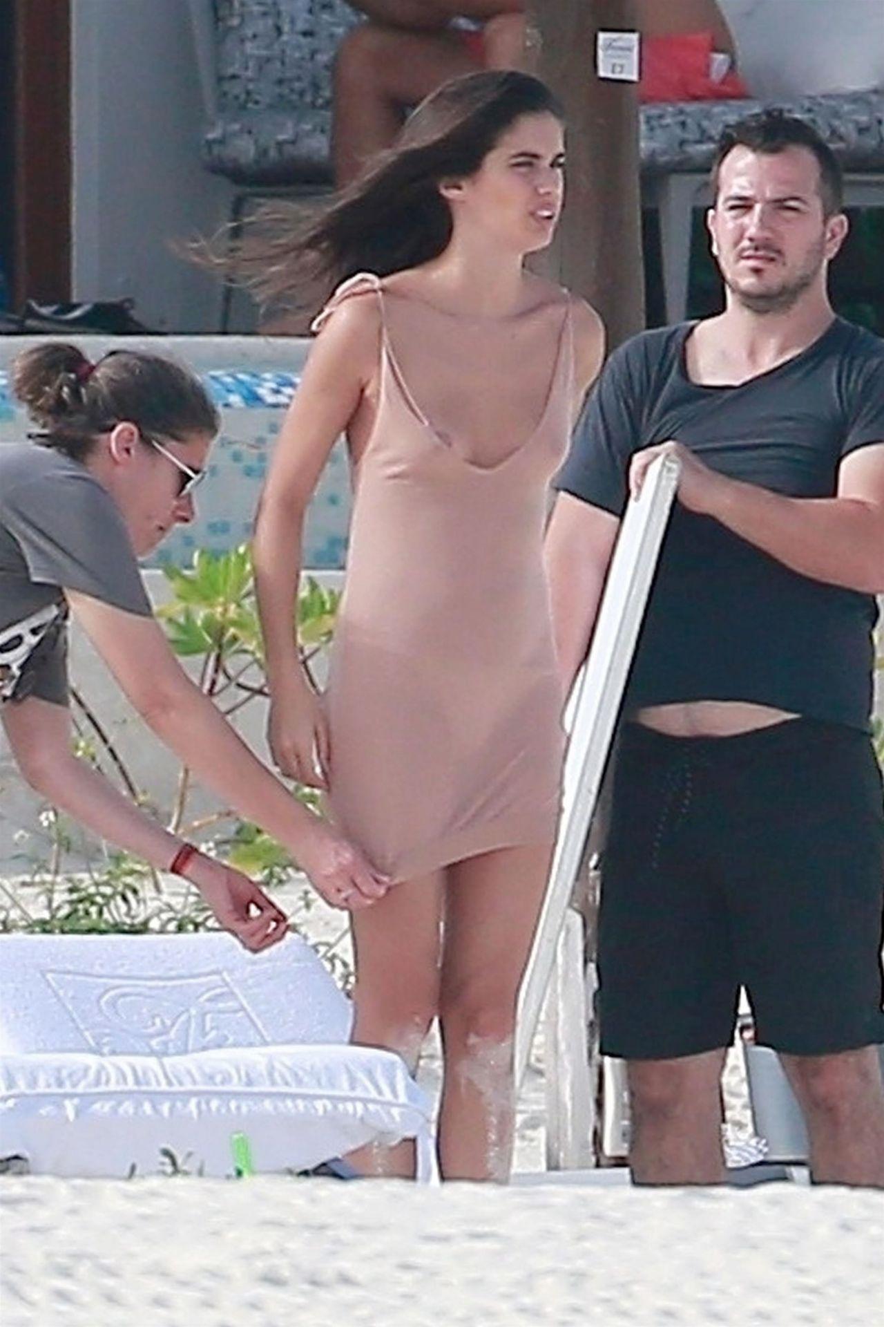 Sara Sampaio in a White Bikini in Playa del Carmen