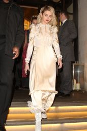 Selena Gomez  in a Cream Dress - Leaves her London Hotel