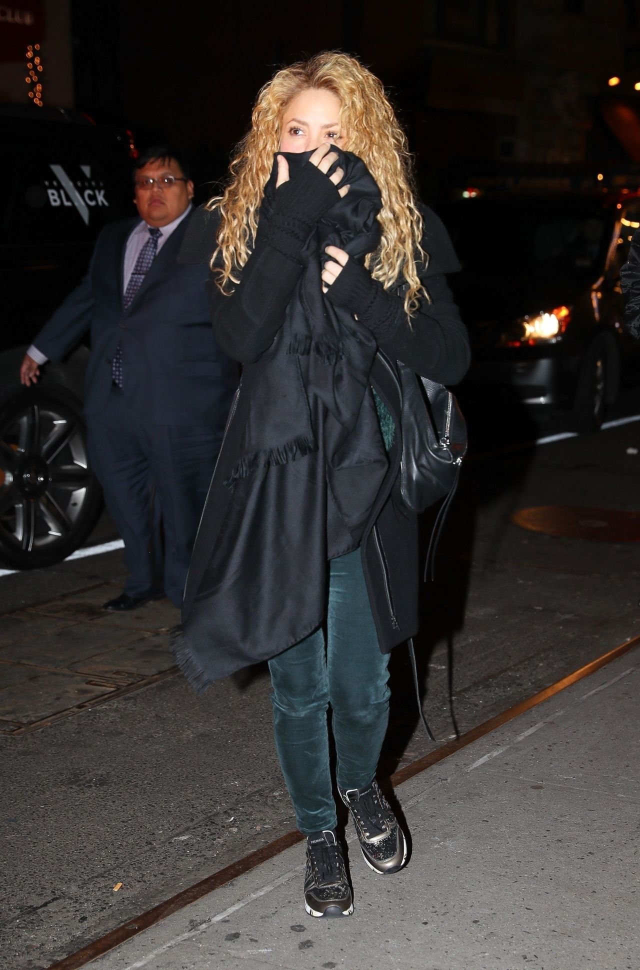 Shakira arriving at the hunt fish club in nyc for The hunt and fish club
