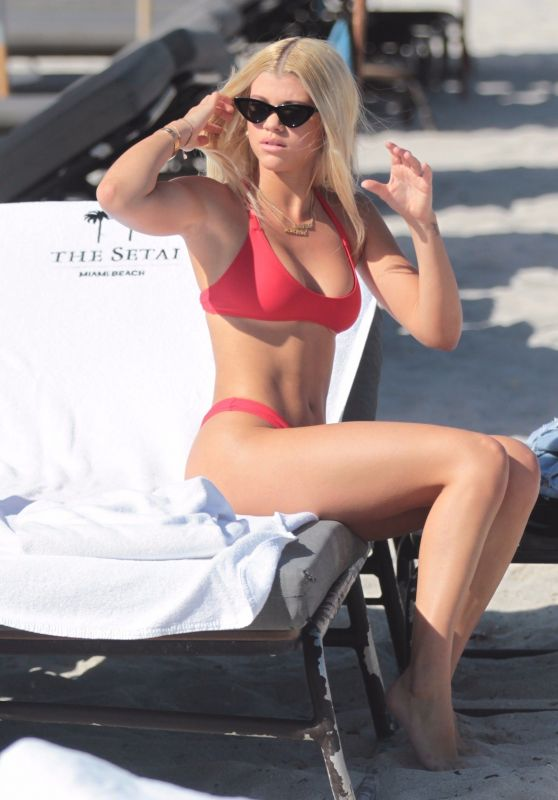 Sofia Richie in a Red Bikini on the Beach in Miami Beach