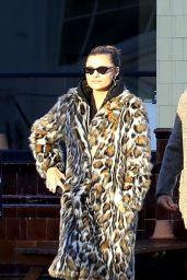 Sophia Thomalla in Animal Print Feathered Coat in Primrose Hill