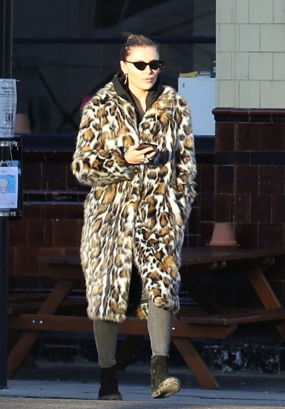 Sophia Thomalla in Animal Print Feathered Coat in Primrose Hill