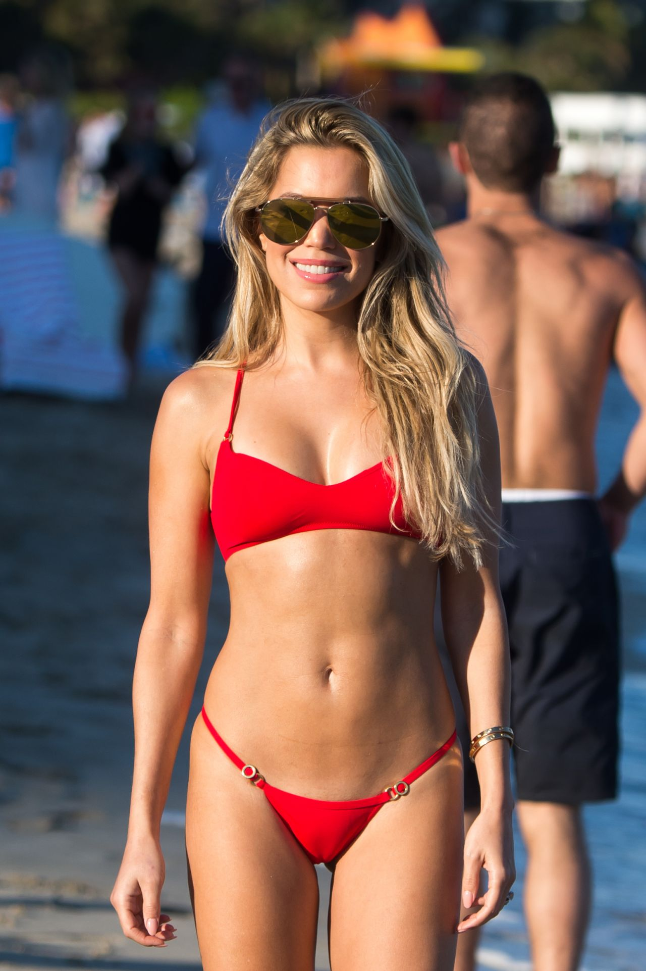 Sylvie Meis in a Red Bikini on the Beach in Miami