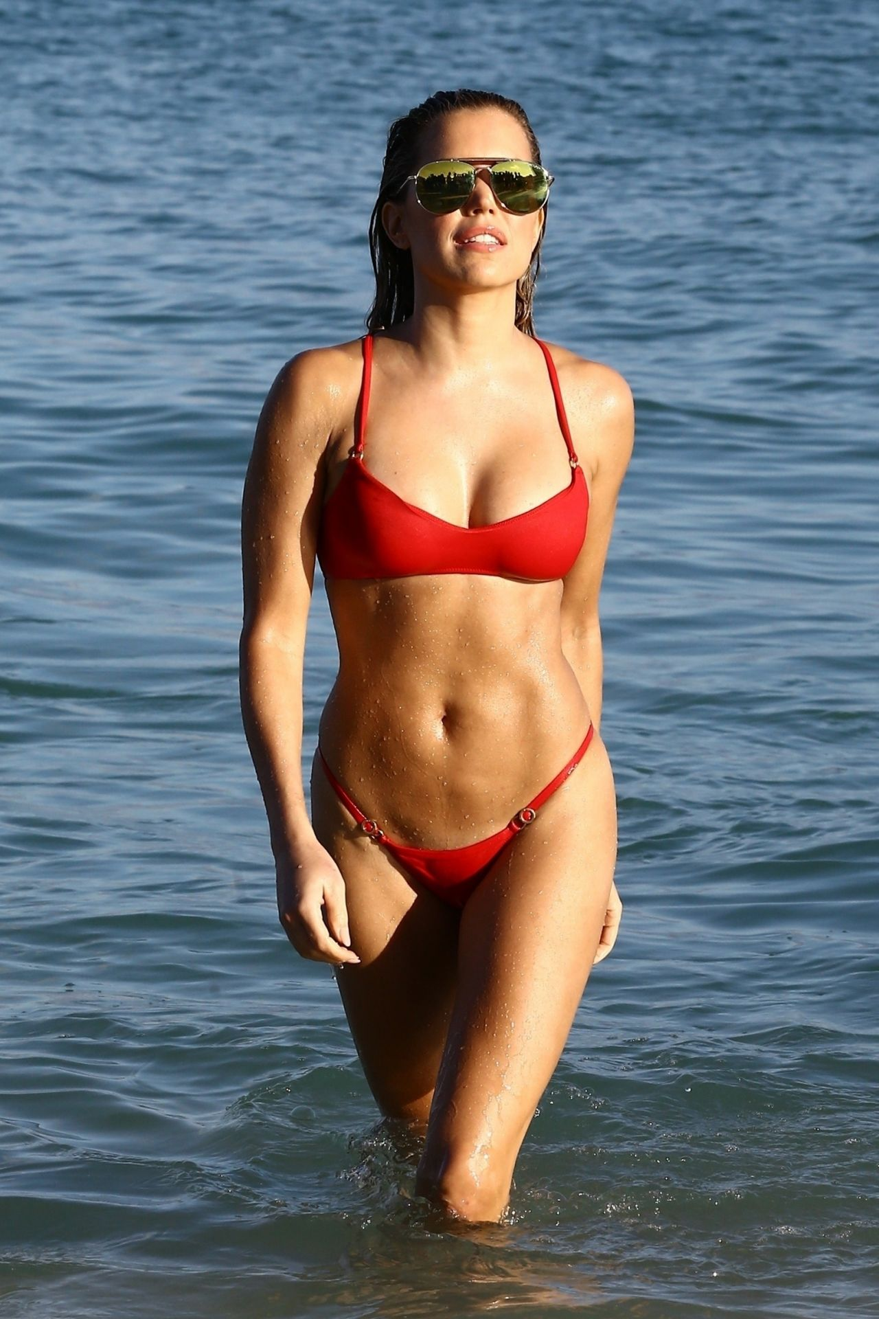 Sylvie Meis in Red Bikini on the beach in Miami Pic 2 of 35