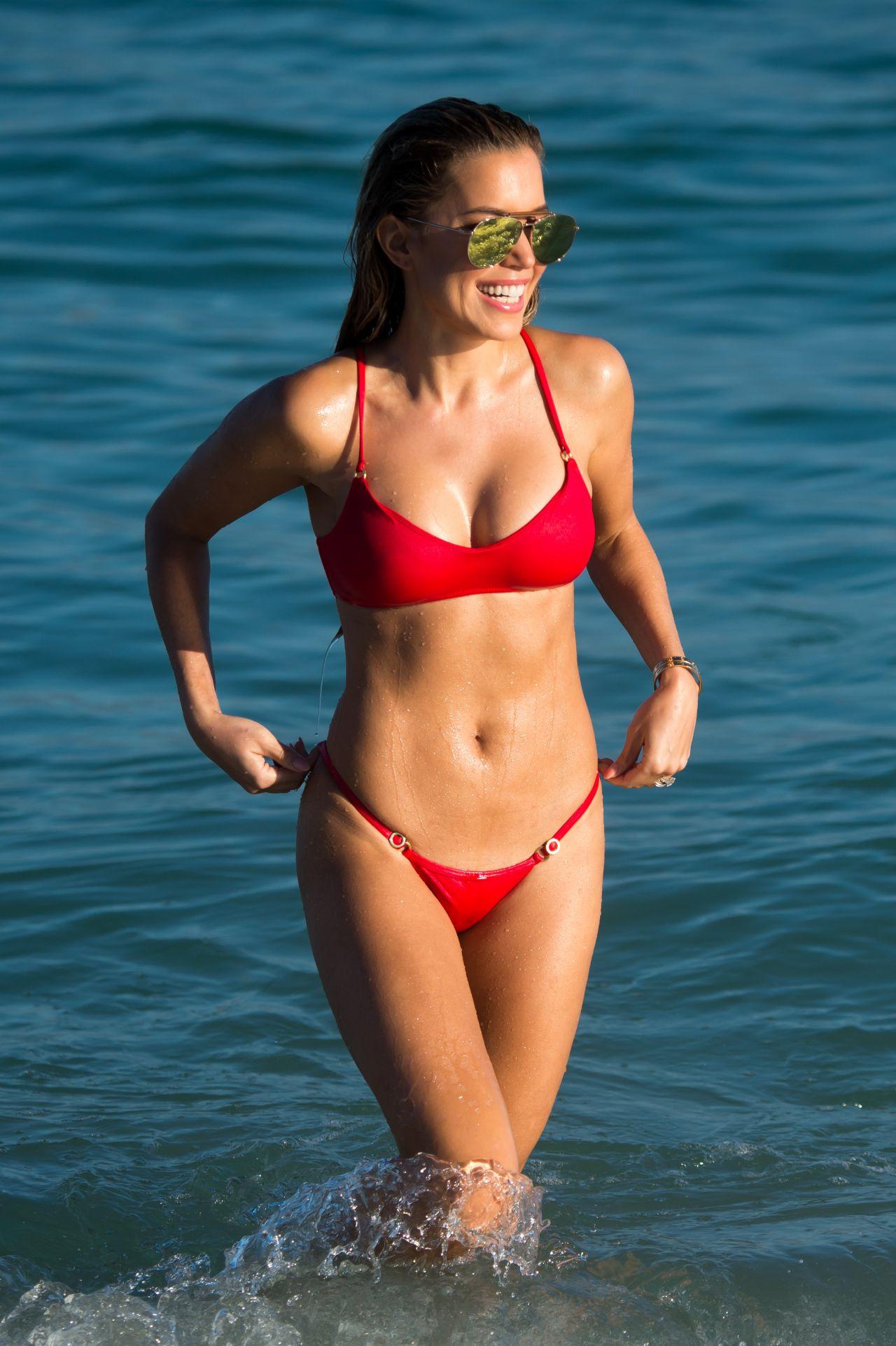 c00cfa8c723 Sylvie Meis in a Red Bikini on the Beach in Miami