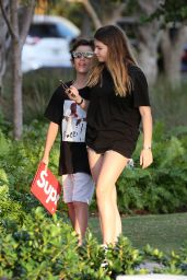 Thylane Blondeau in a Black T-Shirt and Jean Shorts in Miami