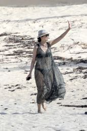 Wendi Deng Murdoch on Beach in Saint Barthelemy