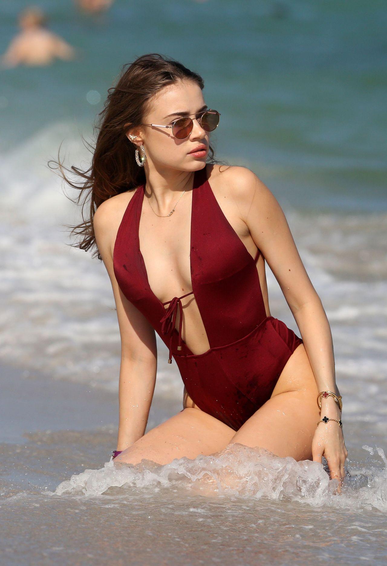 Xenia Tchoumitcheva In Swimsuit On Miami Beach 12082017