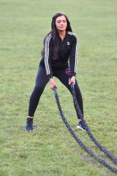 Abbie Holborn Works On Her Squats - Park Workout in Middlesbrough