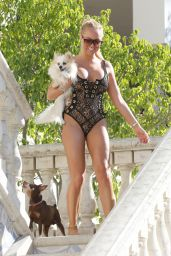 Aisleyne Horgan-Wallace in Swimsuit by the Pool in Los Angeles