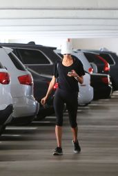 Alessandra Ambrosio in a White Baseball Cap and Sunglasses in Brentwood