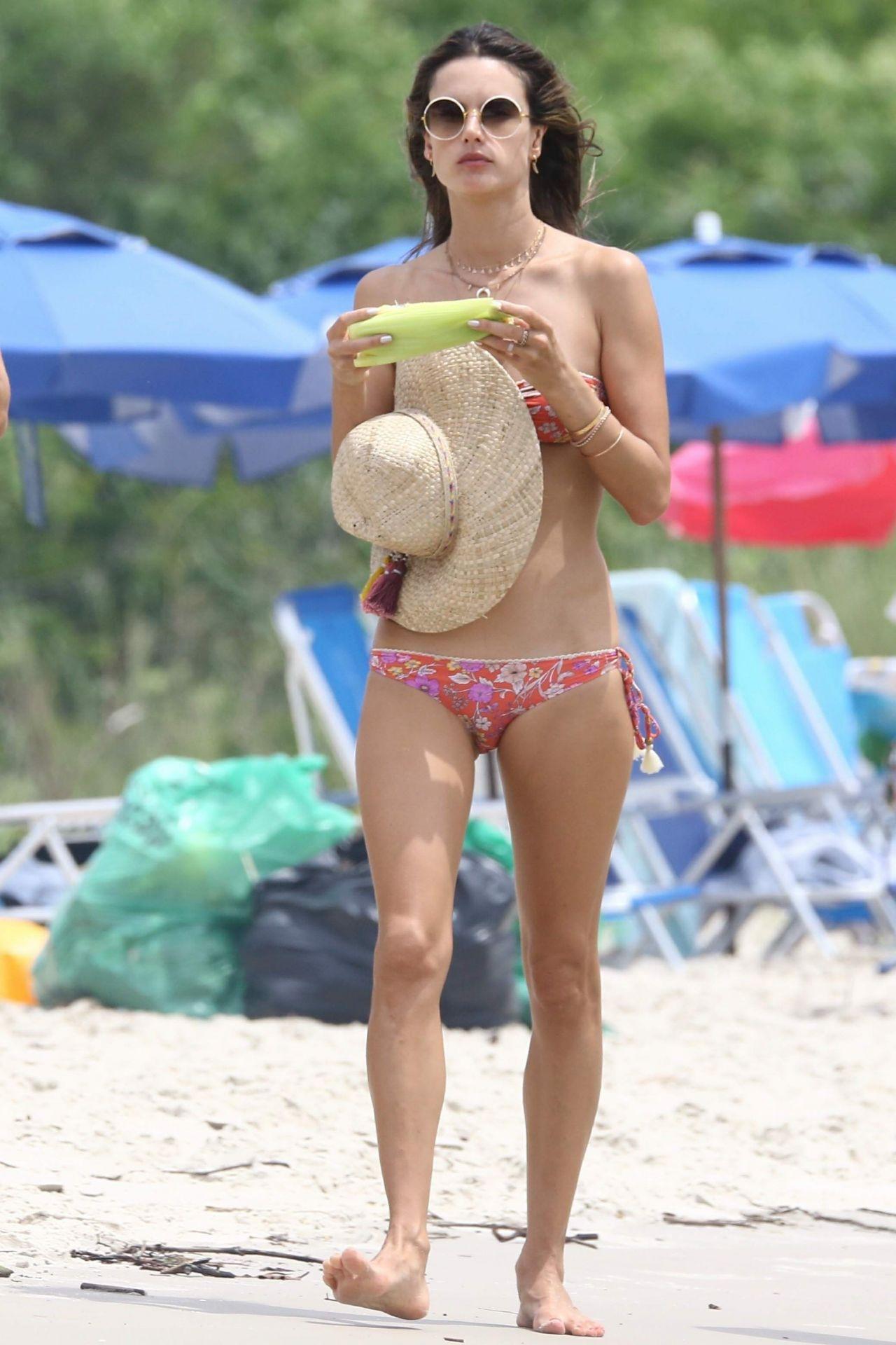 Alessandra Ambrosio in a bikini on the beach in Florianopolis