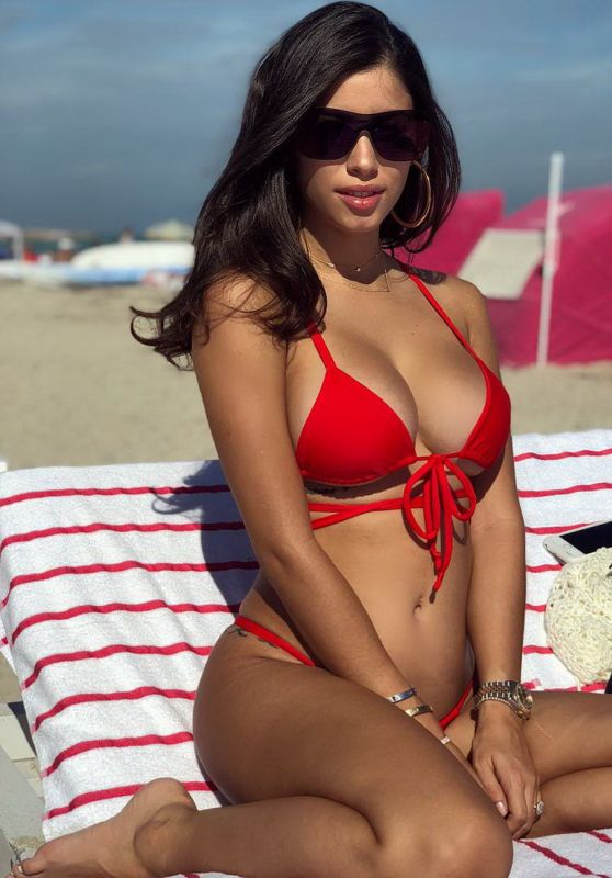 Alexandra Rodriguez in a Red Bikini on the Beach in Miami