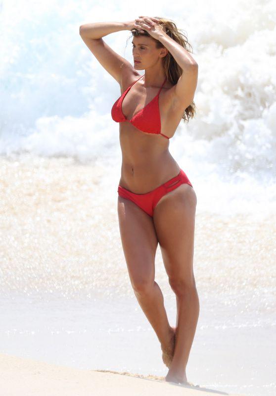 Alyce Crawford in a Red Bikini on Bondi Beach 01/23/2018