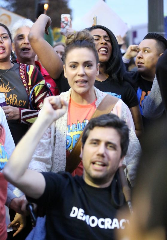 Alyssa Milano at a Protest in West Los Angeles