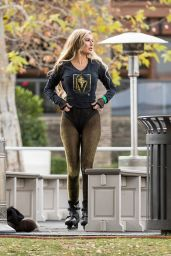 Ana Braga in a Vegas Golden Knights Shirt Ice Skating in Calabasas