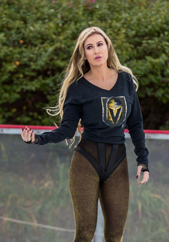 Ana Braga in a Vegas Golden Knights Shirt Ice Skating in Calabasas